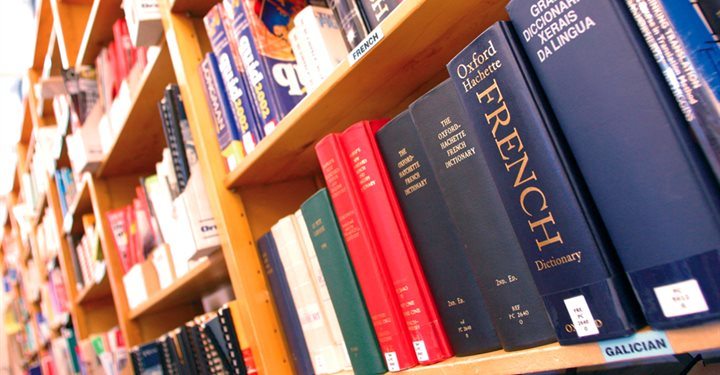 Photos of language books and dictionaries on a shelf