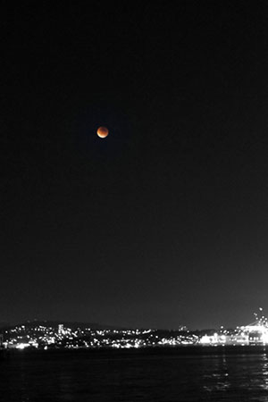 Blood moon over the city