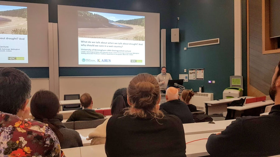 LANS Distinguished Lecture - hydrologist Jamie Hannaford speaks on the topic of drought to a packed room of LANS students