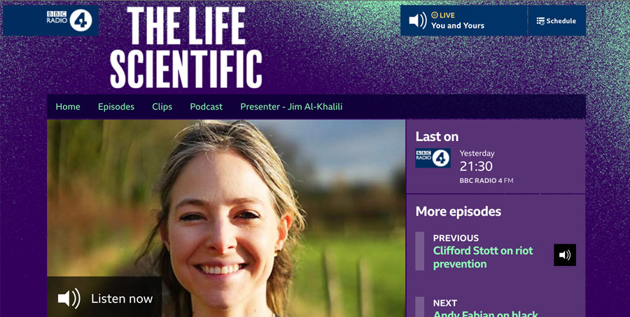 A screenshot of Alice Roberts of the BBC's The life Scientific website
