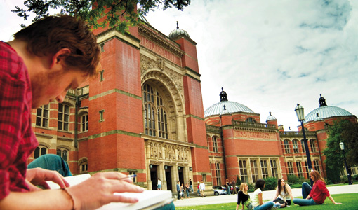 Photo of students studying outside Aston Webb