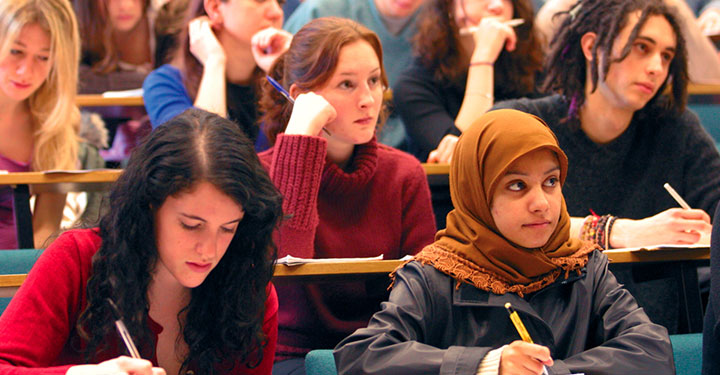Photo of students in a lecture at the University of Birmingham