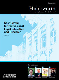 Cover image of the 2012 Holdsworth Alumni newsletter, Birmingham Law School