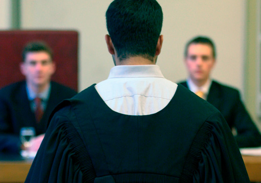 Photograph of Students taking part in a Moot