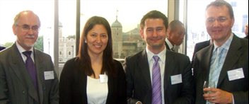 (L-R) Andrew Ottley, partner at Ince & Co, Jyoti Ahuja, prize-winner, James Lee, Birmingham Law School, and Kevin Cooper, partner at Ince & Co.