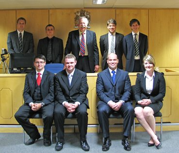 The OUP & BPP National Mooting Competition 2009-10 Finalists. Rupert and Jon are standing to the judge's right-hand side. Reproduced with kind permission of Ben Spagnolo (Oxford)