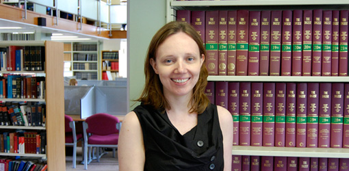 Photo of Lisa Anderson in the Harding Law Library