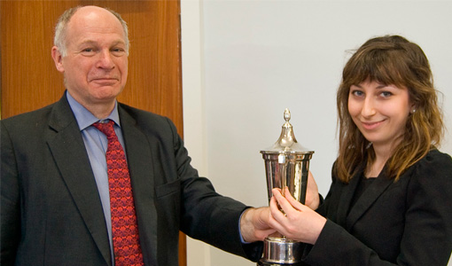 Photograph of Lord Neuberger and Law student Arrin Nouri, winner of the Camm Cup Mooting Competition