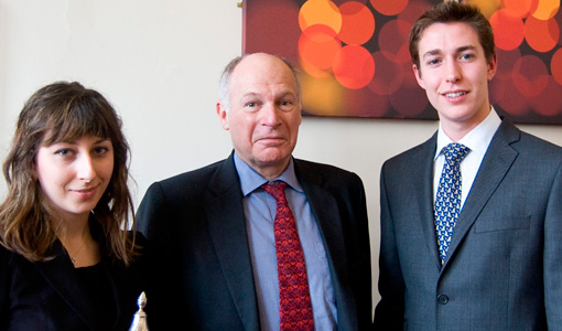 Photograph of Arrin Nouri (winner of the Camm Cup Mooting competition), Lord Neuberger, and Christopher Pask (runner-up)