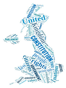 Image of a tag cloud created for the UK consitution preamble project