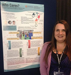 Doctoral researcher Kirsty Moreton with her prize-winning poster at the SLS 2014 conference