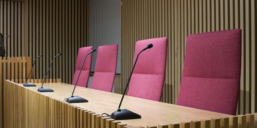 The Judges' chairs in the Harding Space Moot Room