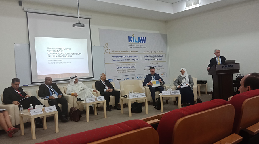Professor Martin Trybus giving a speech in Kuwait