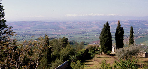 Photo of the view from the hill in Recanti, Italy.