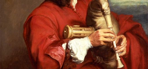 Detail from a Van Dyck painting showing a musician playing a musette