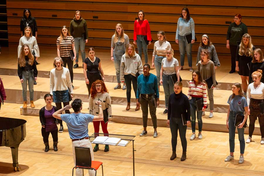 University Women's Choir in rehearsal with Patrick Barrett