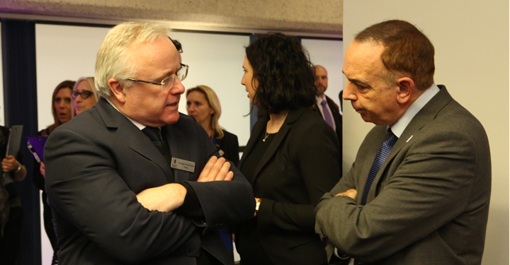 Professor Francis Davis talks to Lord Nick Bourne, Minister for Faith and Integration (Photo by Holocaust Memorial Day Trust)