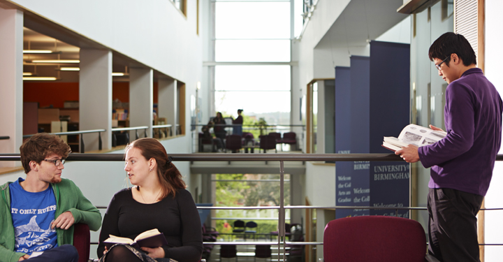 Students in the ERI building