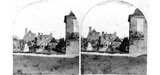 Stereoscopic image of the rear of Mason Croft.