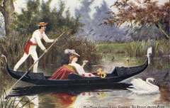 Painting depicting Marie Corelli on the river.