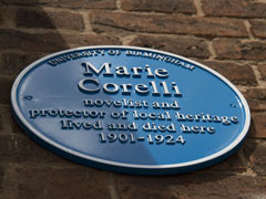 Photo of the Marie Corelli blue plaque at Mason Croft