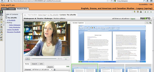 Screenshot of distance learning lecture