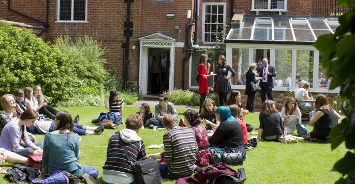 Students in the garden at the Shakespeare Institute