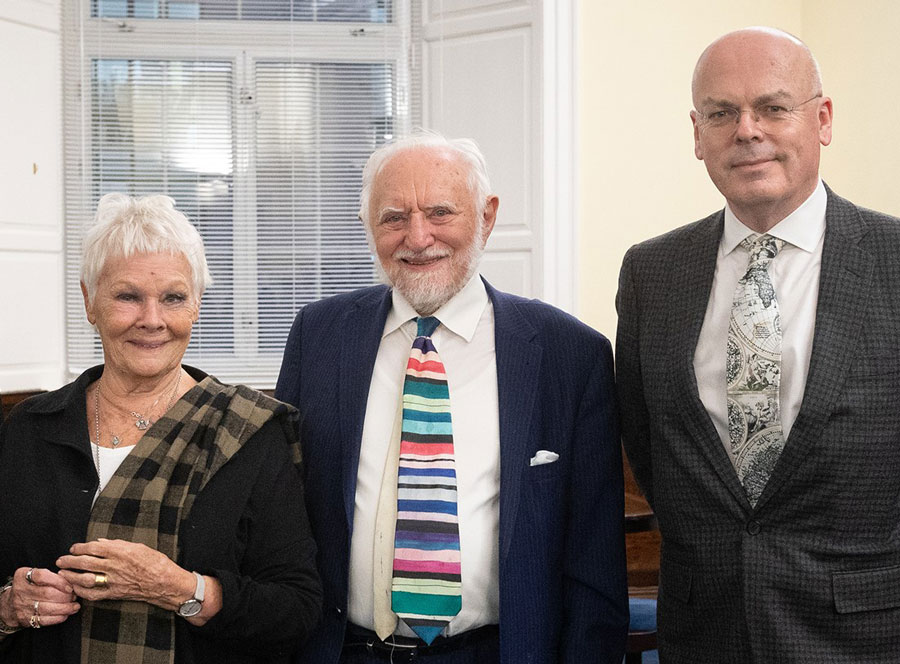 Dame Judi Dench, Professor Sir Stanley Wells OBE and Professor Michael Dobson at a Shakespeare Institute event