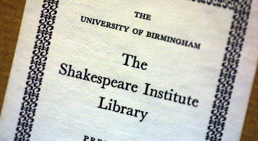 Label from The Shakespeare Institute Library