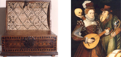 Photograph of a medicine box and an allegorical portrait