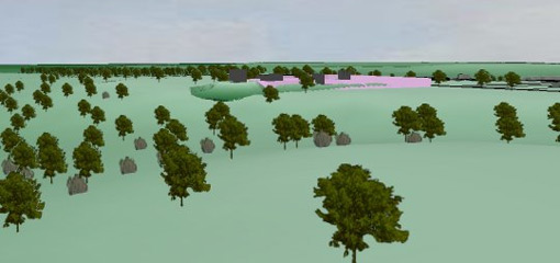 GIS model with trees on a landscape