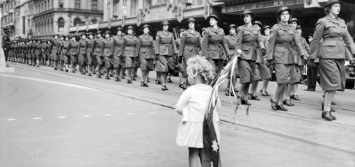 Photograph of marching female soldiers