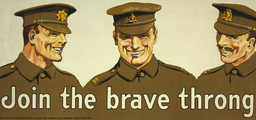 Illustration of army officers with the title 'Join the brave throng'