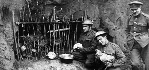 Photograph of an officer and soldiers in the first world war trenches