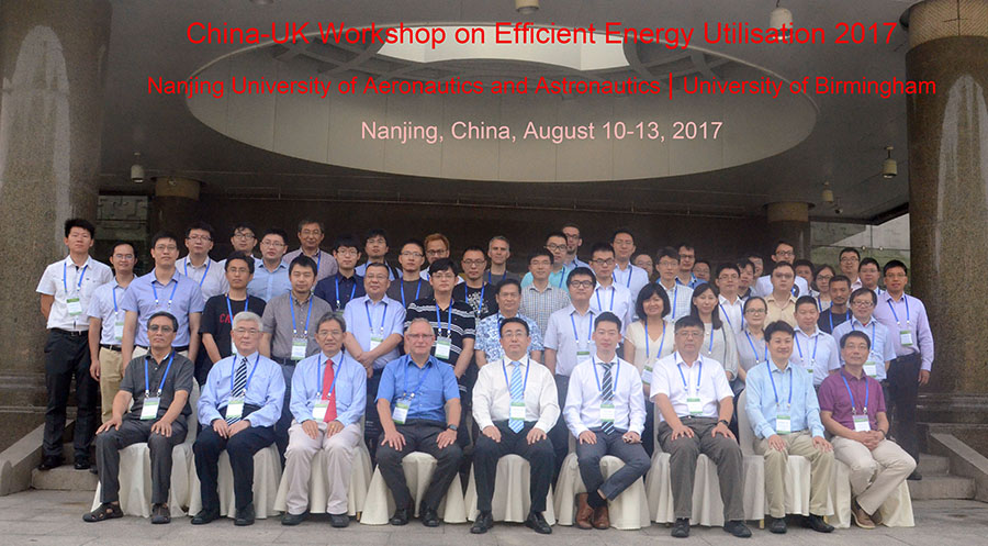 Group photo of Academics from the Birmingham Centre for Energy Storage at the University of Birmingham and Nanjing University of Aeronautics and Astronautics, China at Nanjing University for a workshop on efficient energy utilization