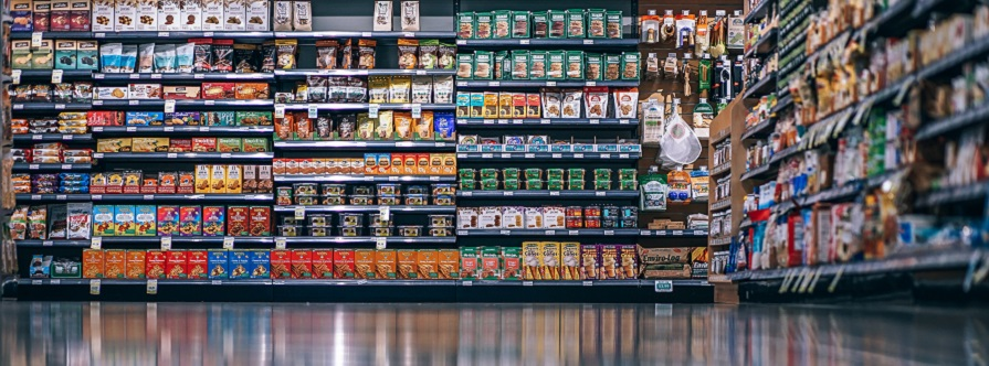 supermarket shelves with convenience food