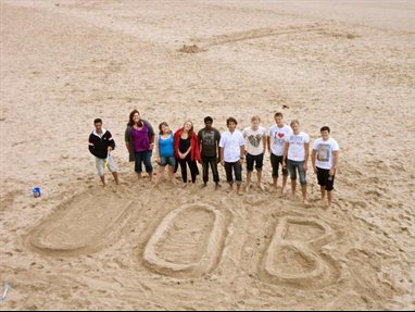 Civil Engineering Society members on beach