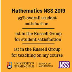 Mathematics 93% overall satisfaction 2019 NSS