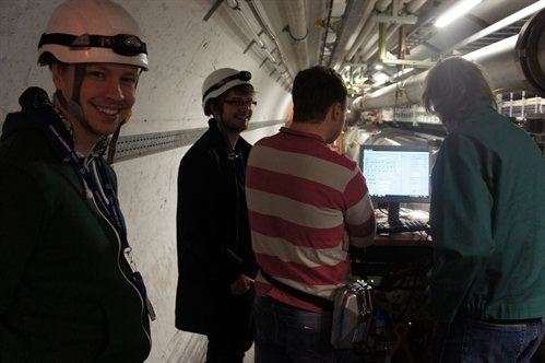 My colleagues and I in the LHC Tunnel, measuring the triple R