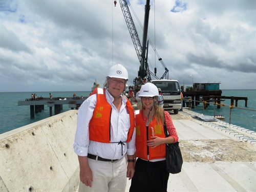 Visiting the under-construction port in Kiribati