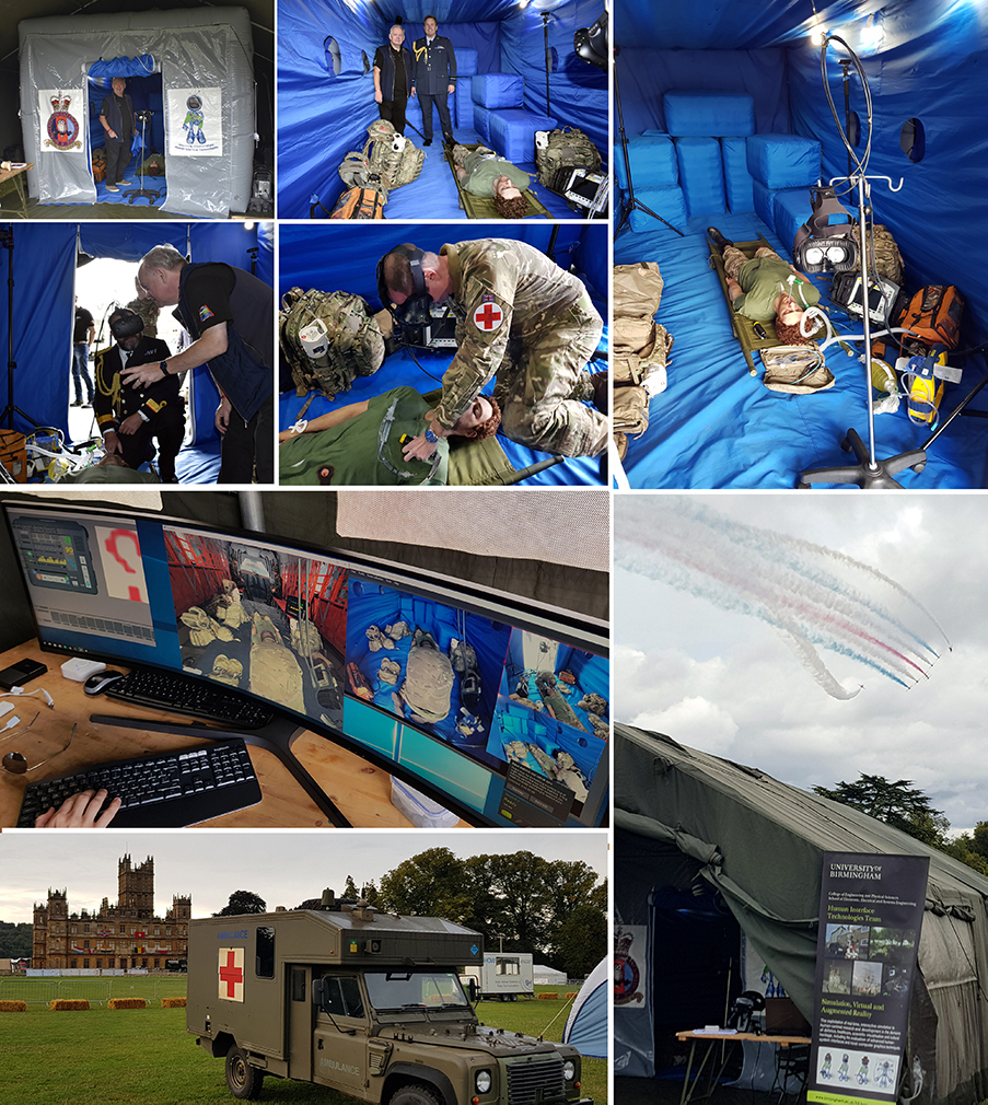 Collage of images of the HIT Team demonstrating their Mixed Environment Reality Trainer (MERT) system at Highclere Castle
