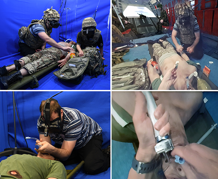 Personnel from the Tactical Medical Wing of RAF Brize Norton testing out the Mixed Reality Medical Emergency Response Team training concept developed by the HIT Team at Birmingham
