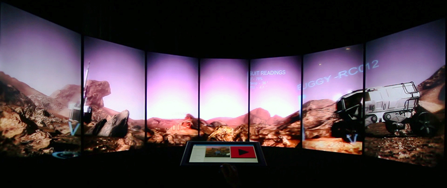 VR demo viewed through giant set of Liquid Galaxy screens