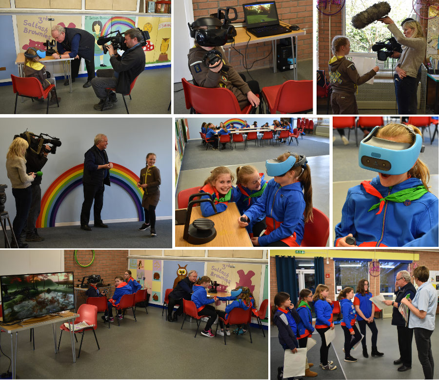 Collage of images of Professor Bob Stone delivering a Virtual Reality (VR) workshop for Salt Ash Brownies and Girl Guides