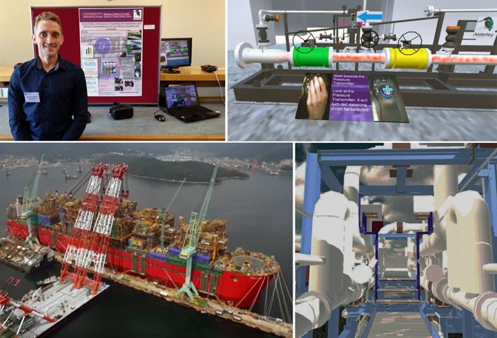 VR training collage. Four images. Top right features Matthew Cottrell, a Birmingham Mechanical Engineering graduate.