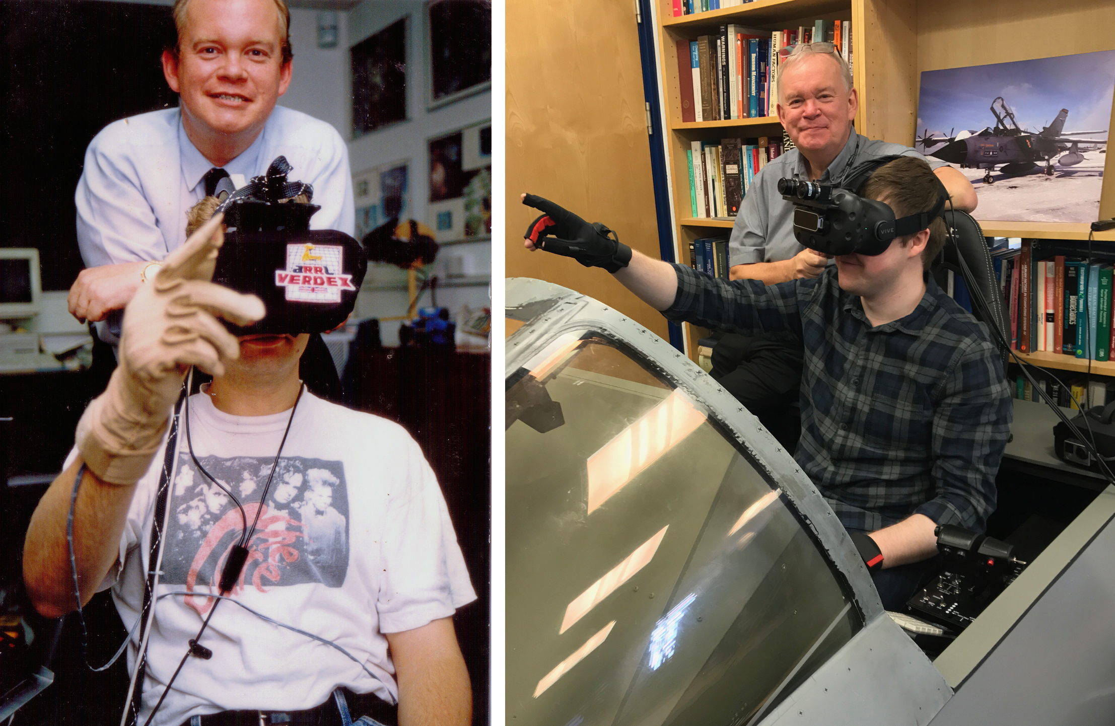Two photos of Professor Bob Stone anda person using virtual reality technology. On the left is a photo of Bob from the 1990s, on the right is a recent photo of Bob.