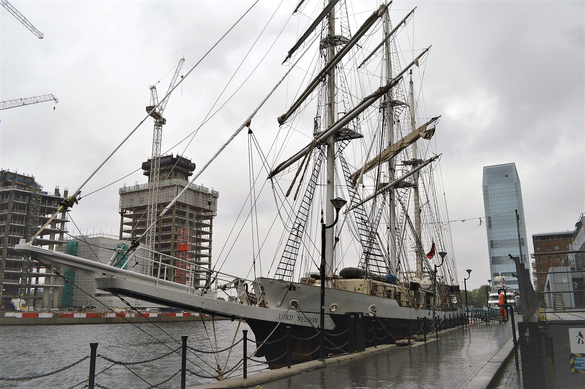 The Lord Nelson tall ship in Canary Wharf