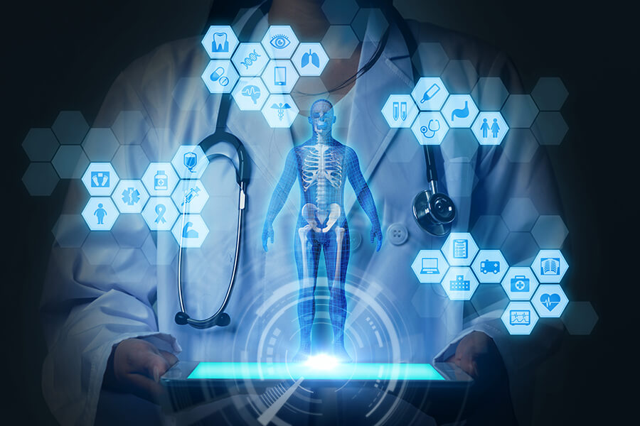Medical technology concept image with doctor and molecular structures