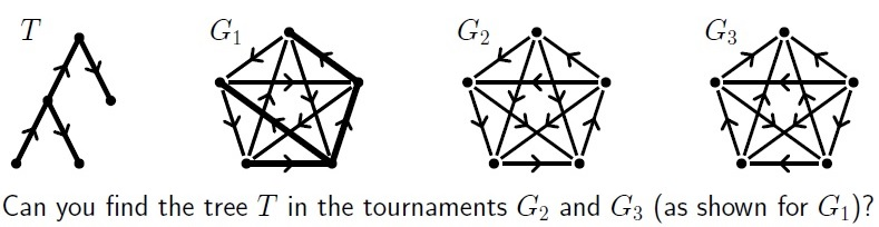 Maths puzzle diagram featuring a set of four tournaments, each with a tree in them