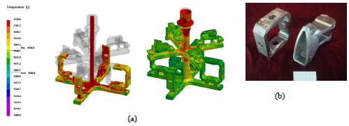 Figure 3 (a) showing modelling of filling and (b) the actual castings produced of the gimbal and frame connector after cleaning up the castings.